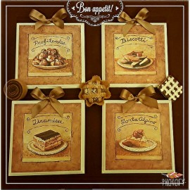 DEA REGALO SET QUADRETTI SHABBY CHIC COUNTRY ARREDAMENTI CUCINA 15x15 ART sr5