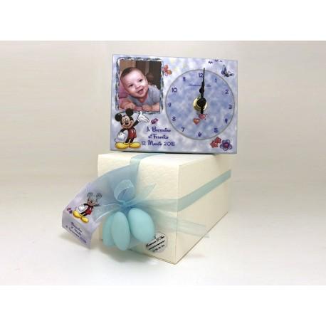 Bomboniera battesimo orologio topolino personalizzato con foto
