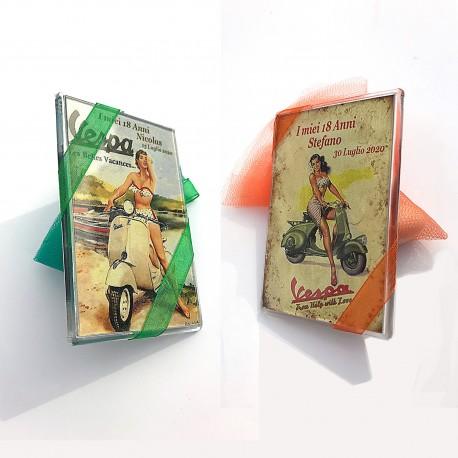 Bomboniera Compleanno magnete targa pubblicità cm. 9x6 struttua plexiglass personalizzata