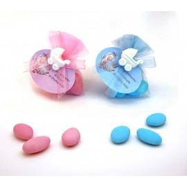 Bomboniera battesimo nascita sacchettino confetti con ciuccio