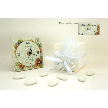 Frasi Matrimonio Orologio.Orologio Bomboniera Matrimonio Moderno Personalizzato Confetti E Tulle